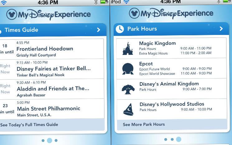Usando o app My Disney Experience